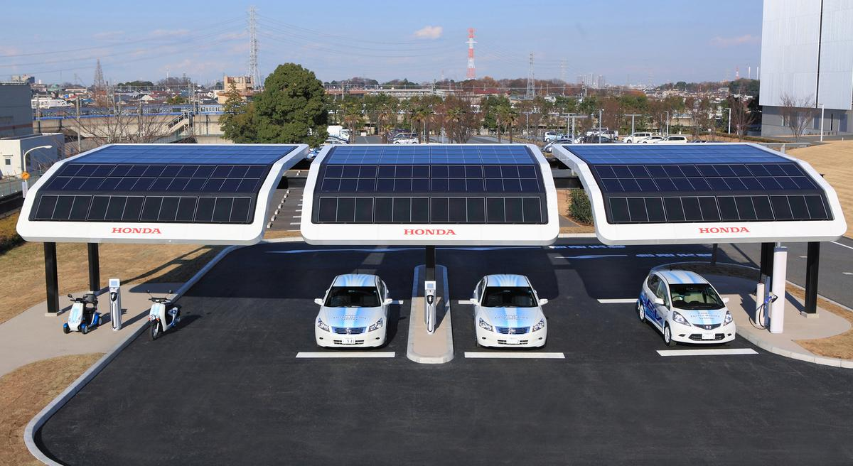 The solar-powered public EV charging station