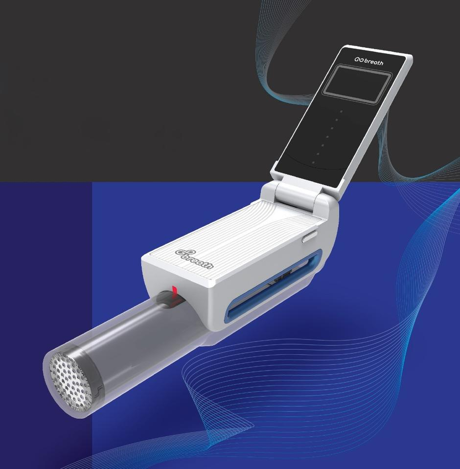 The GoBreath device looks kind of like an inhaler, although it also has a flip-up LCD screen on which a custom app runs