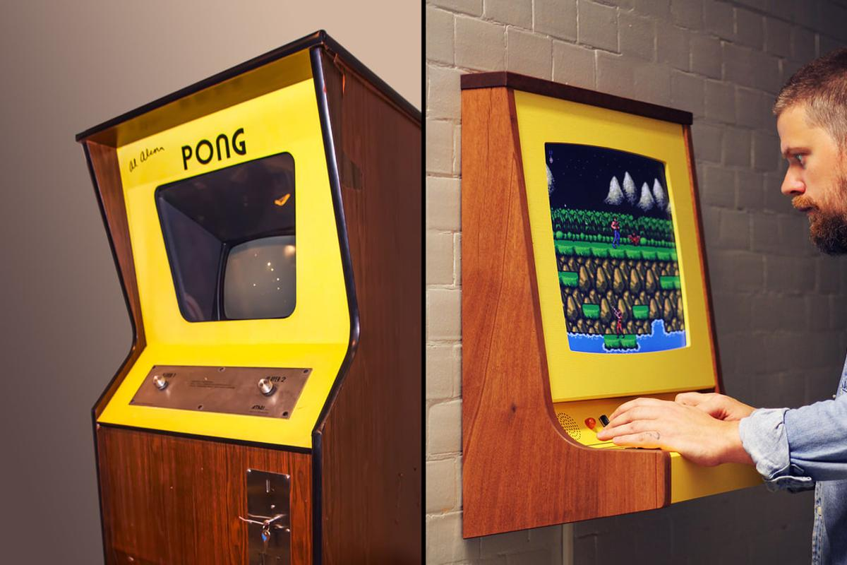 On the left, a Pong arcade cabinet and one the right Love Hultén's OriginX tribute