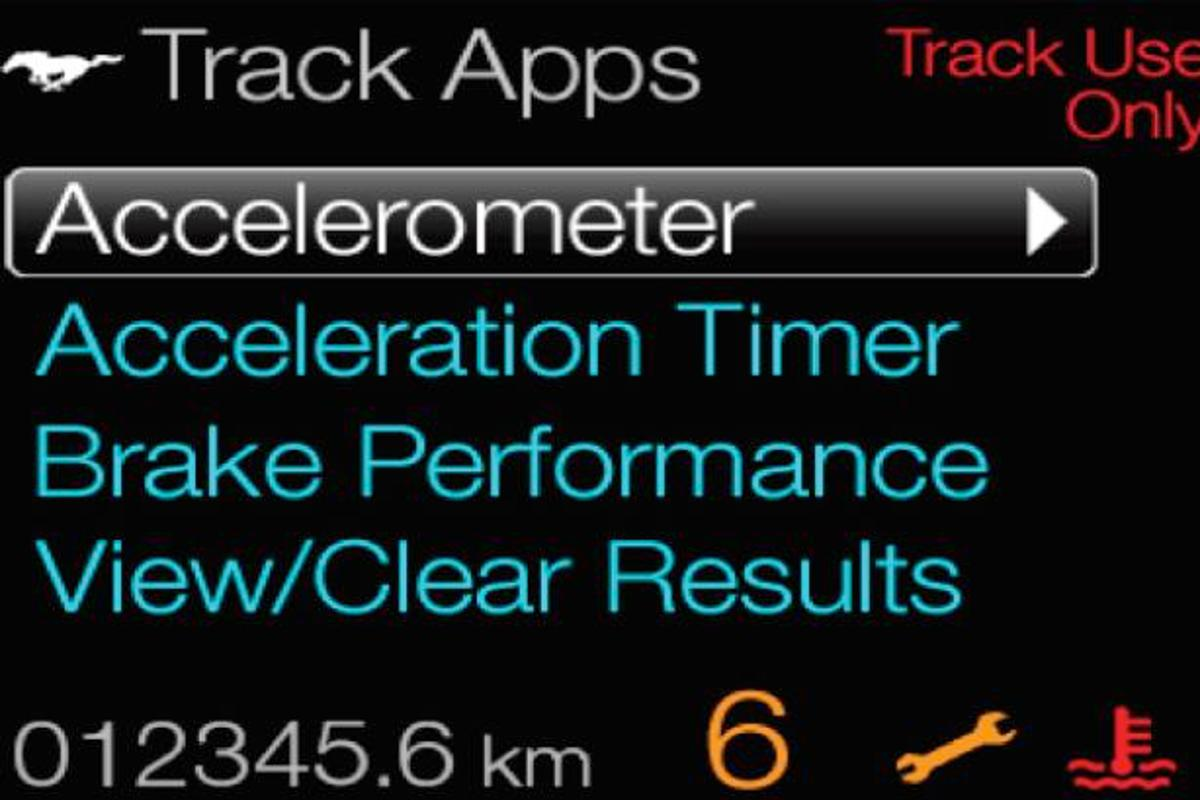 The 2013 Ford Mustang will incorporate Track Apps, a feature that displays the car's performance metrics in real time