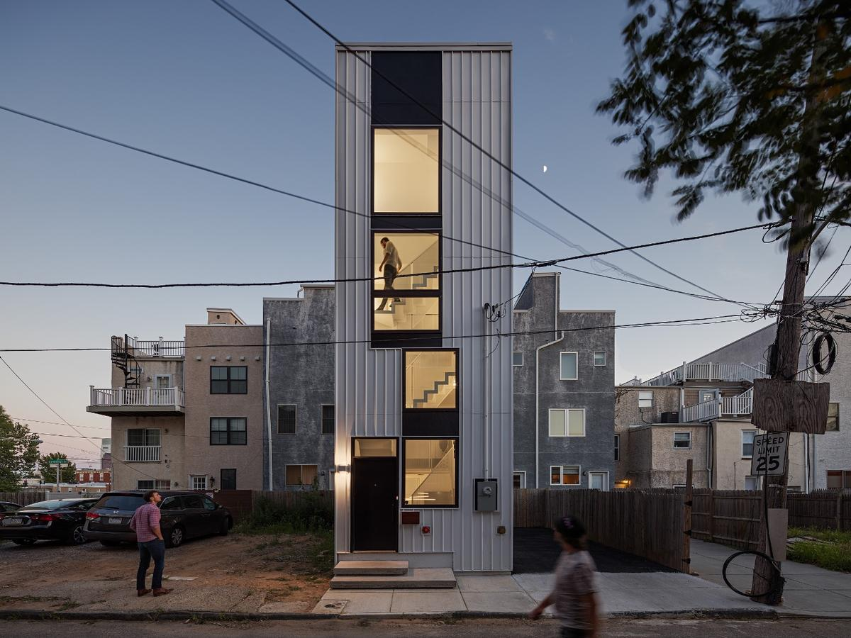 Tiny Tower, which is owned by Callahan Ward Companies, shoehorns a 1,250-sq-ft home into a 12 x 29-ft plot in Philadelphia's Brewerytown neighborhood
