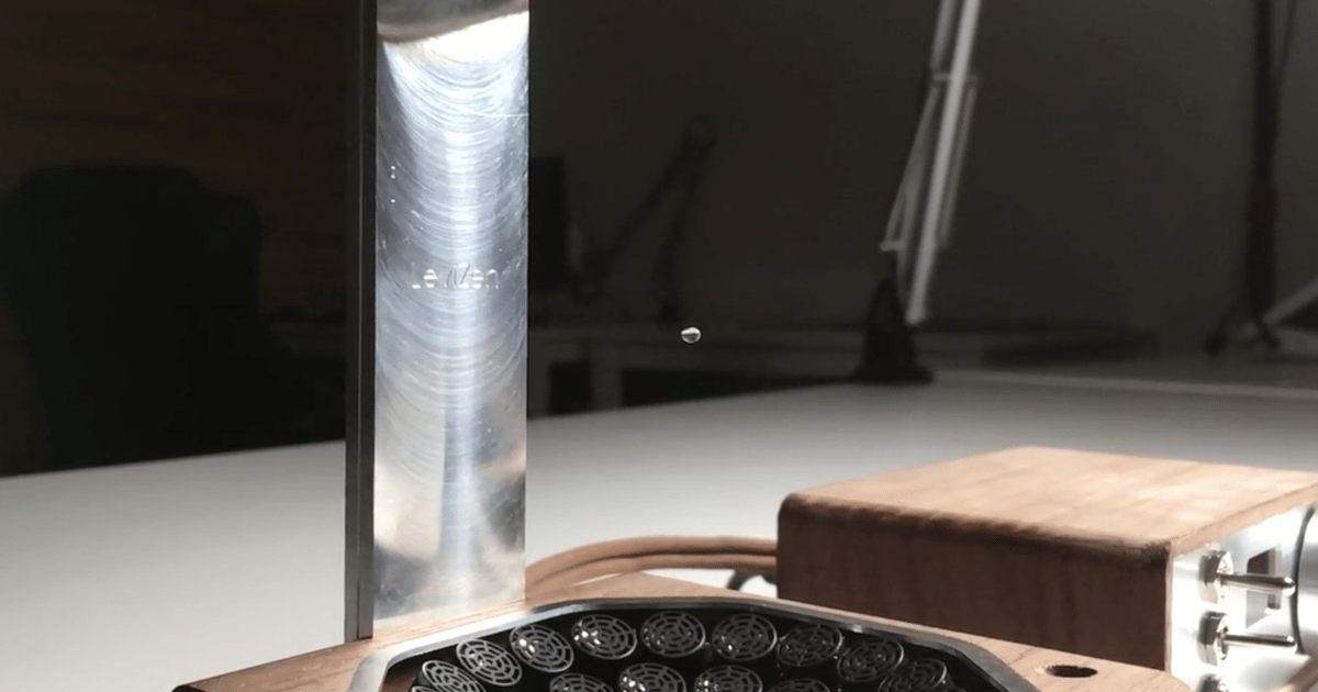 LeviZen uses sound waves to levitate water droplets on your desktop