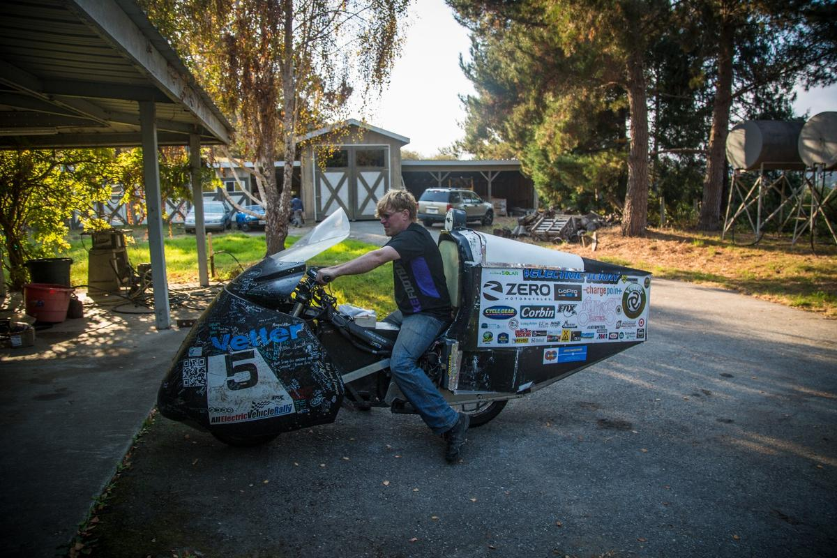 Electric Terry and his cross-country-record-setting Zero bike, at Craig Vetter's apocalypse-proof compound in the California hills