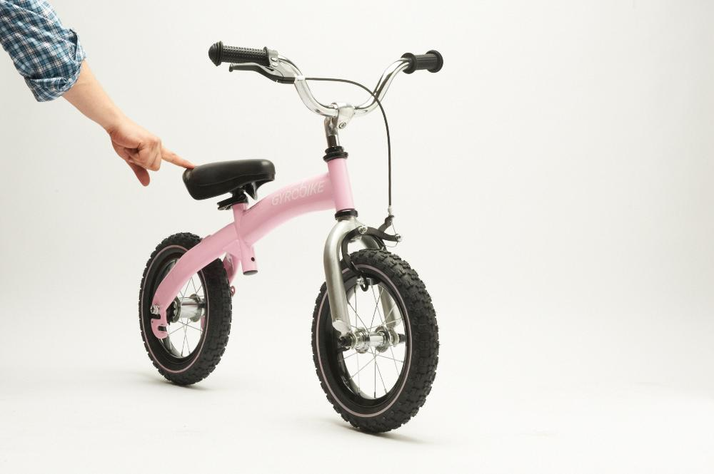 The Gyrobike is aimed at kids between 3 and 6 years old and comes in red, pink, green and blue