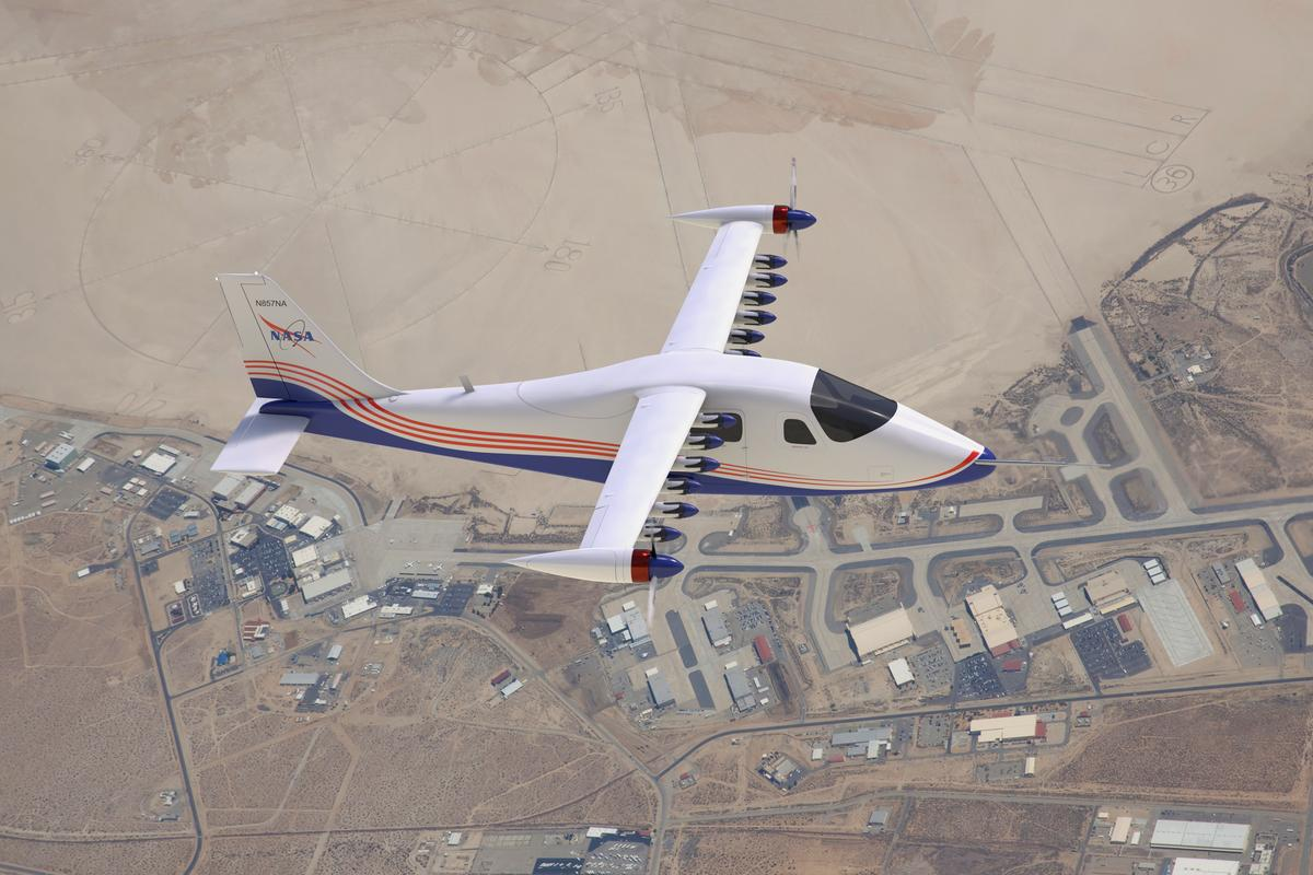 This artist's concept image shows NASA's first all-electric X-plane, the X-57 Maxwell, in its final configuration, flying in cruise mode over NASA's Armstrong Flight Research Center in Edwards, California