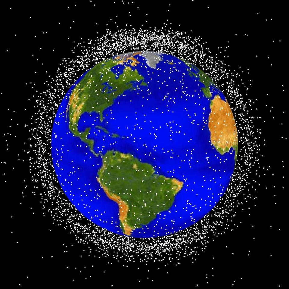 A rendering of the debris cloud surrounding the earth (Image: NASA)