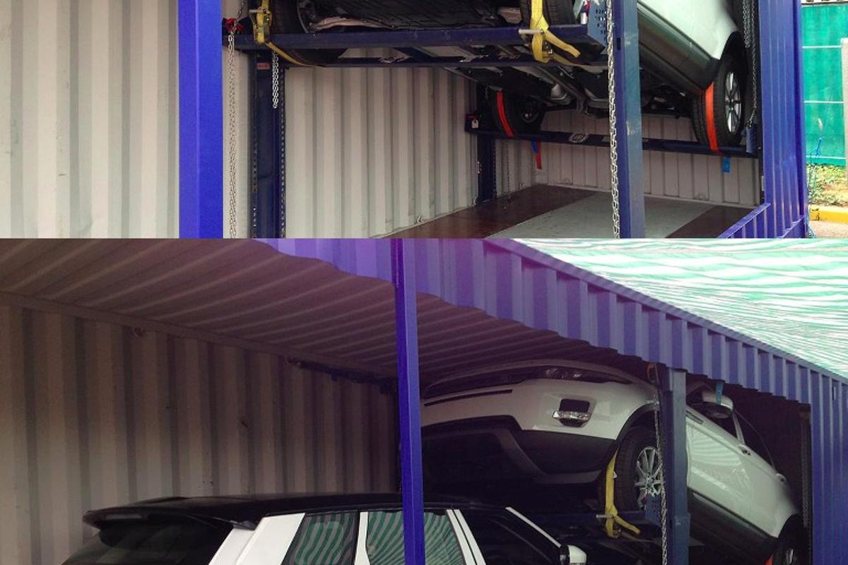 A cut-away view of vehicles stacked in a container, using the Warwick system
