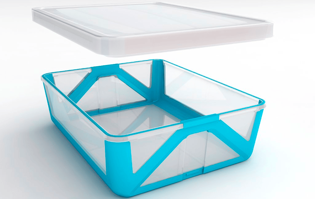 UK inventor Ben Strange is hoping to tidy up your cluttered kitchen cabinet, with a plastic box that folds up flat inside its lid for smarter storage