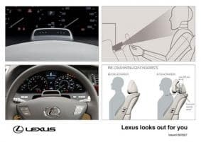 Lexus' new active safety systems include driver facial monitoring to determine if the driver's aware of oncoming obstacles, and active protection from rear-enders