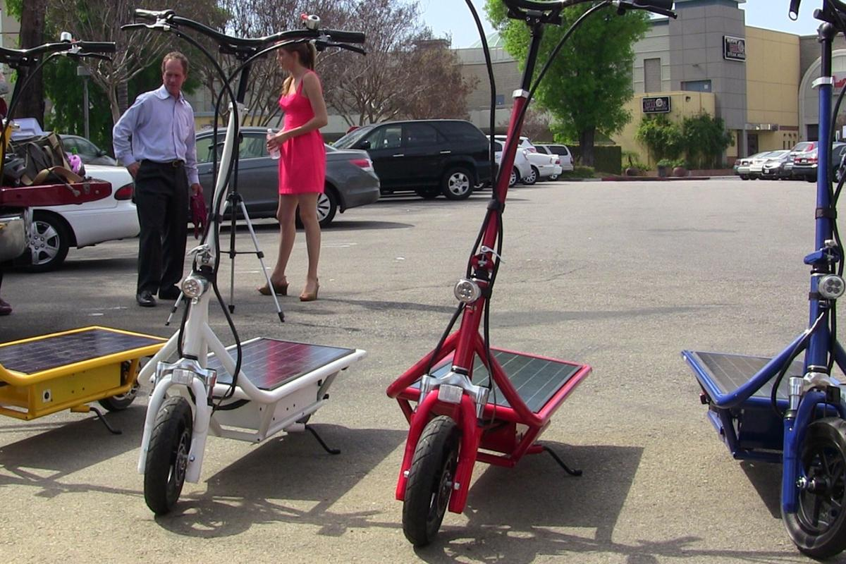 The Solar Electric Scooter uses a PV panel as its riding platform