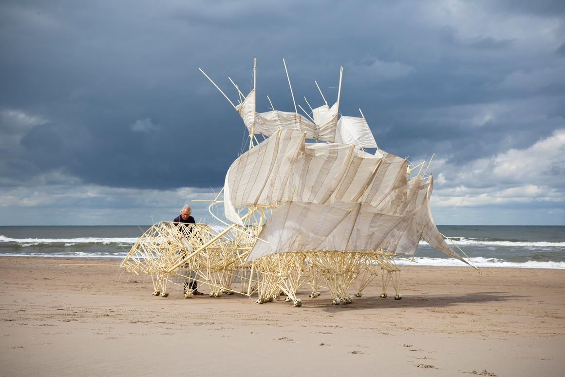 The Strandbeest Plaudens Vela can walk in the wind at low speeds and avoid tumbling over in high winds (Photo: Theo Jansen)