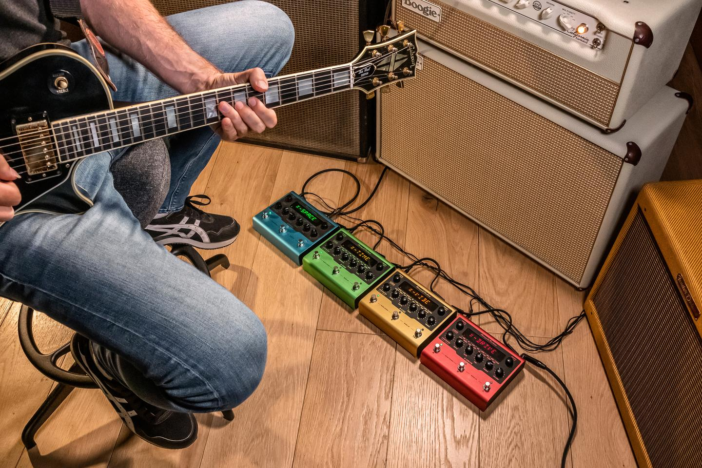 Each of the four X-Gear stomps is crammed with 16 custom algorithms based on the most popular models in IK's AmpliTube software