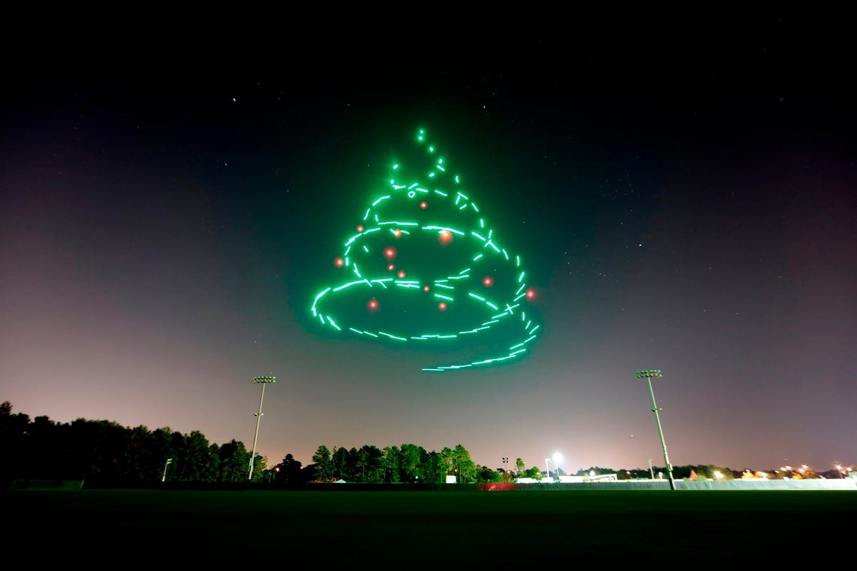The drones will take flight in a choreographed performance and form holiday-themed animations