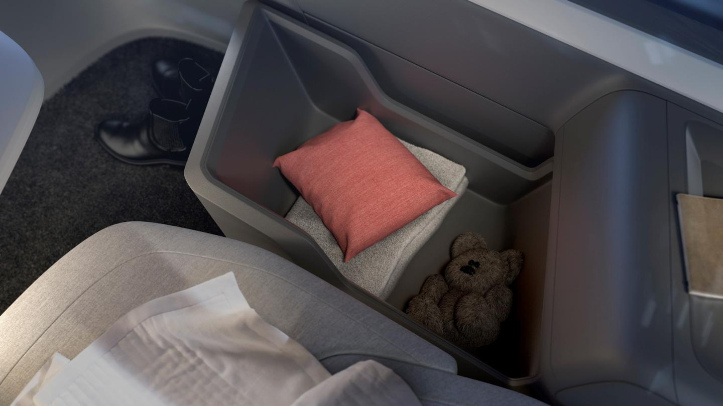 Volvo's simple 360c interior includes storage for things like clothing, blankets and pillows