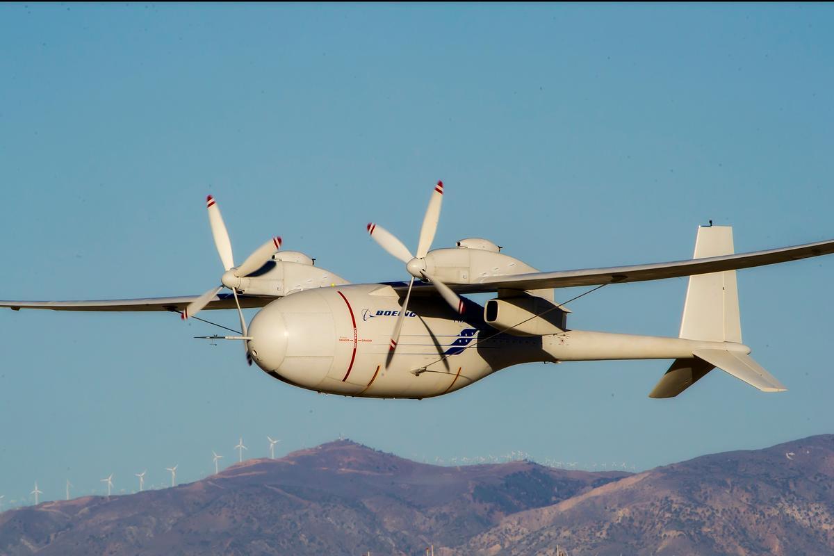 Boeing's liquid hydrogen-powered Phantom Eye unmanned airborne system on its second flight (Photo: Boeing photo)