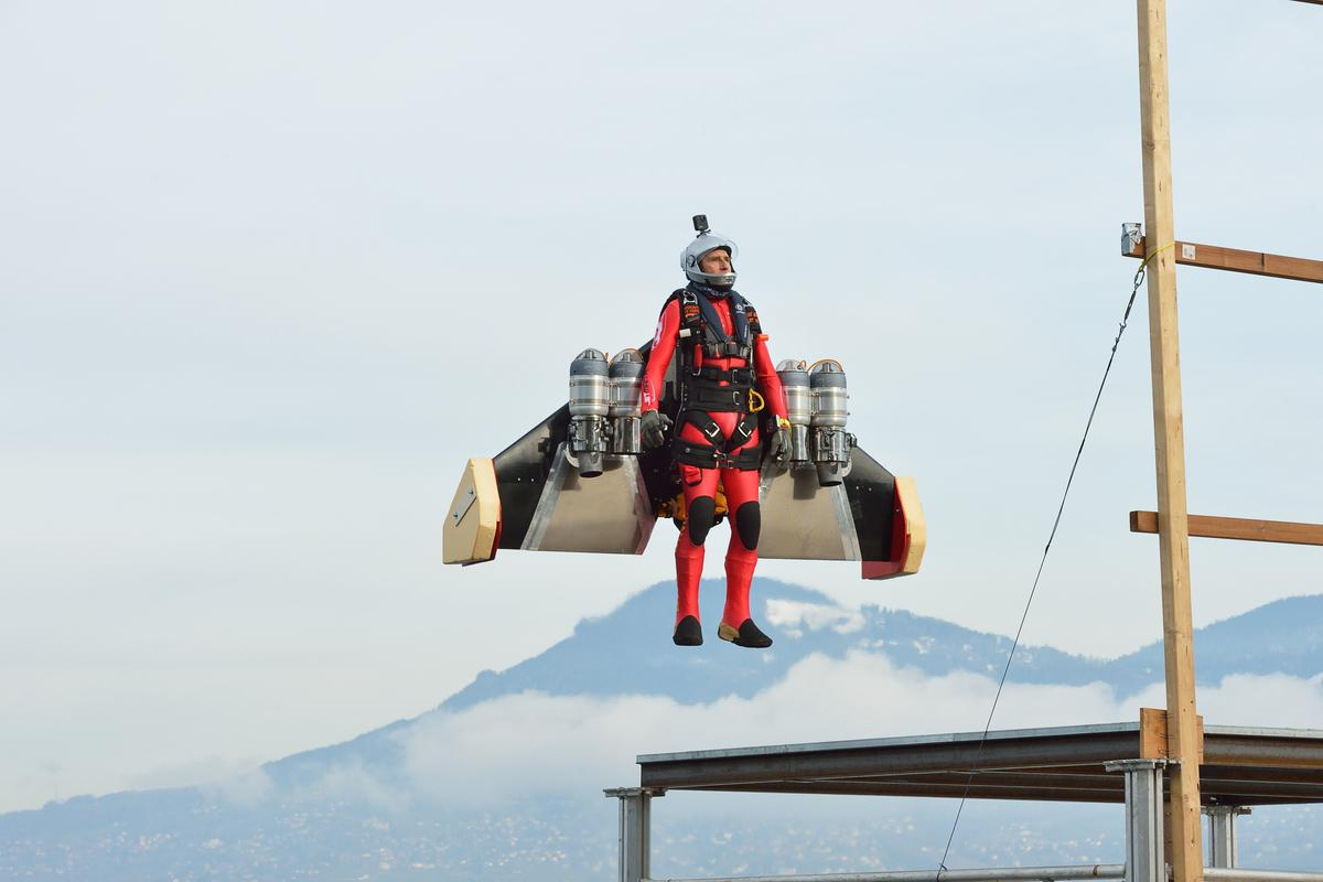 A serene sight, as Jetman Yves Rossy rises up from the ground with his new autonomous VTOL system