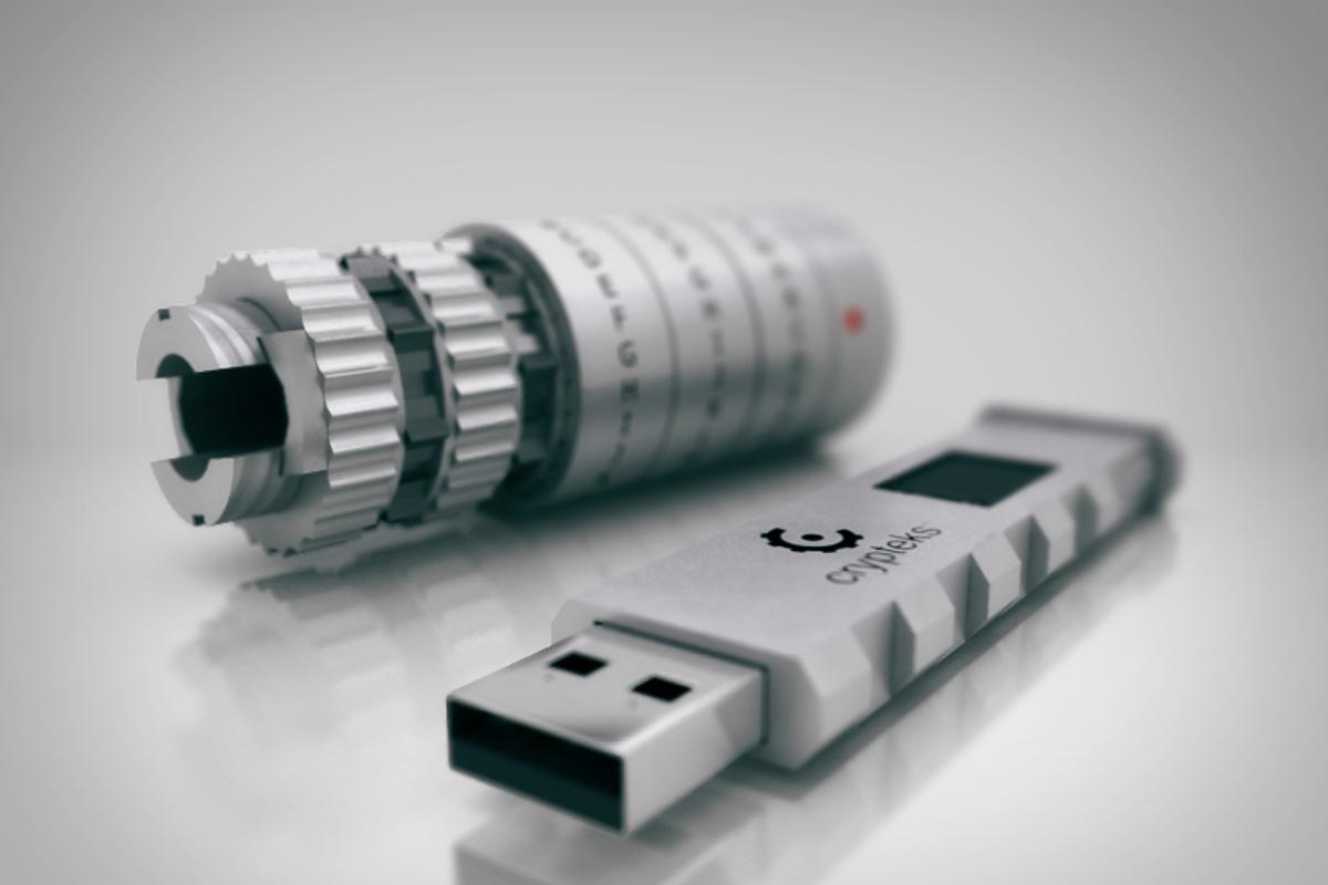 Crypteks USB storage is physically locked inside its aluminum housing, encrypted with a user-created password