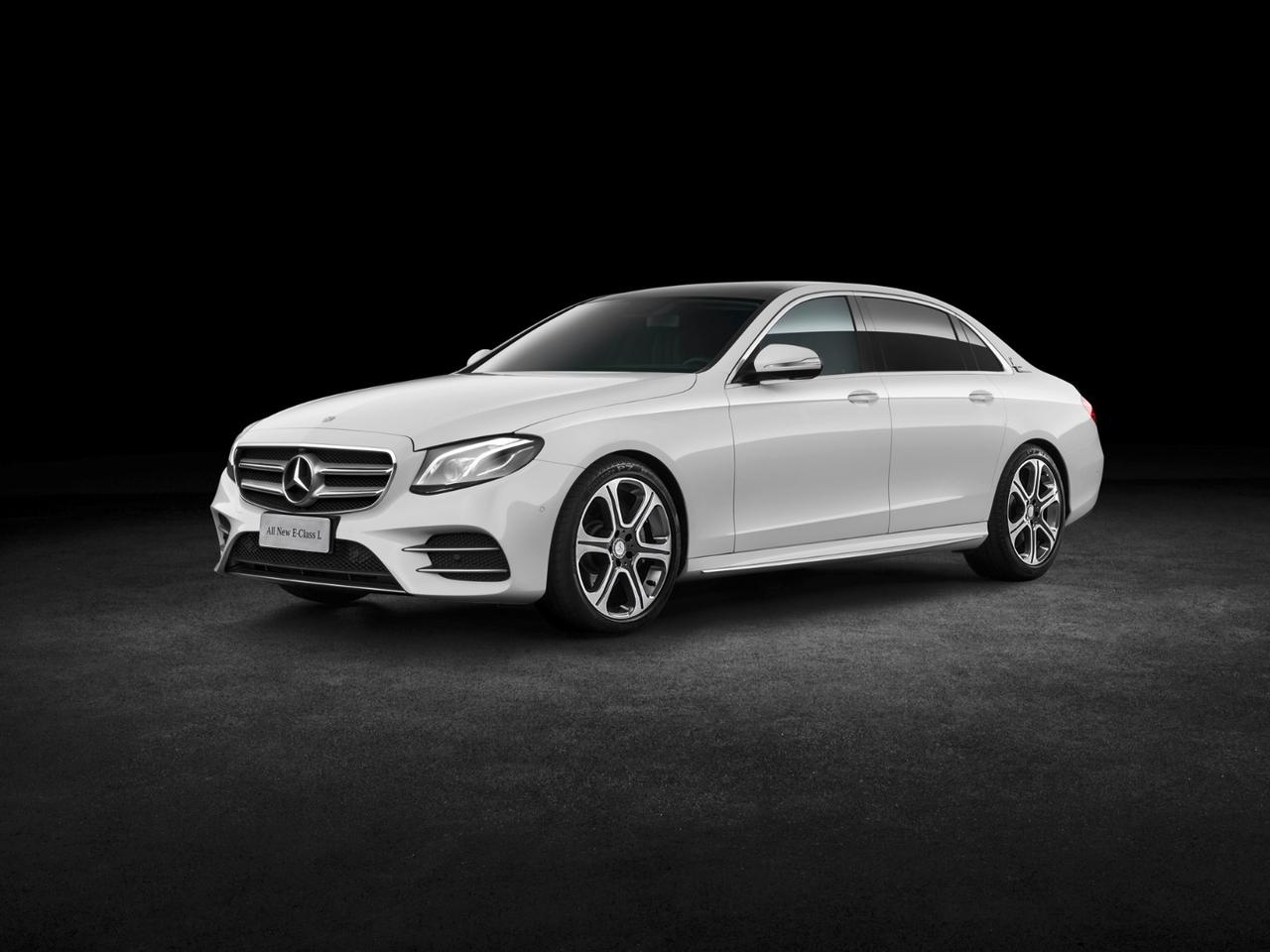 The long-wheelbase E-Class provides occupants with larger footwells and more space in the back