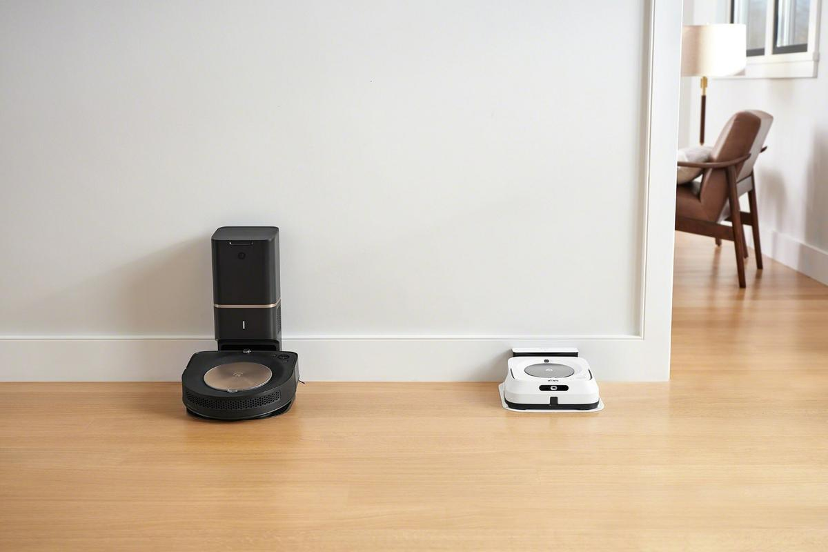 iRobot's Roomba s9+ robotic vacuum cleaner (left) and its Braava jet m6 mopping robot