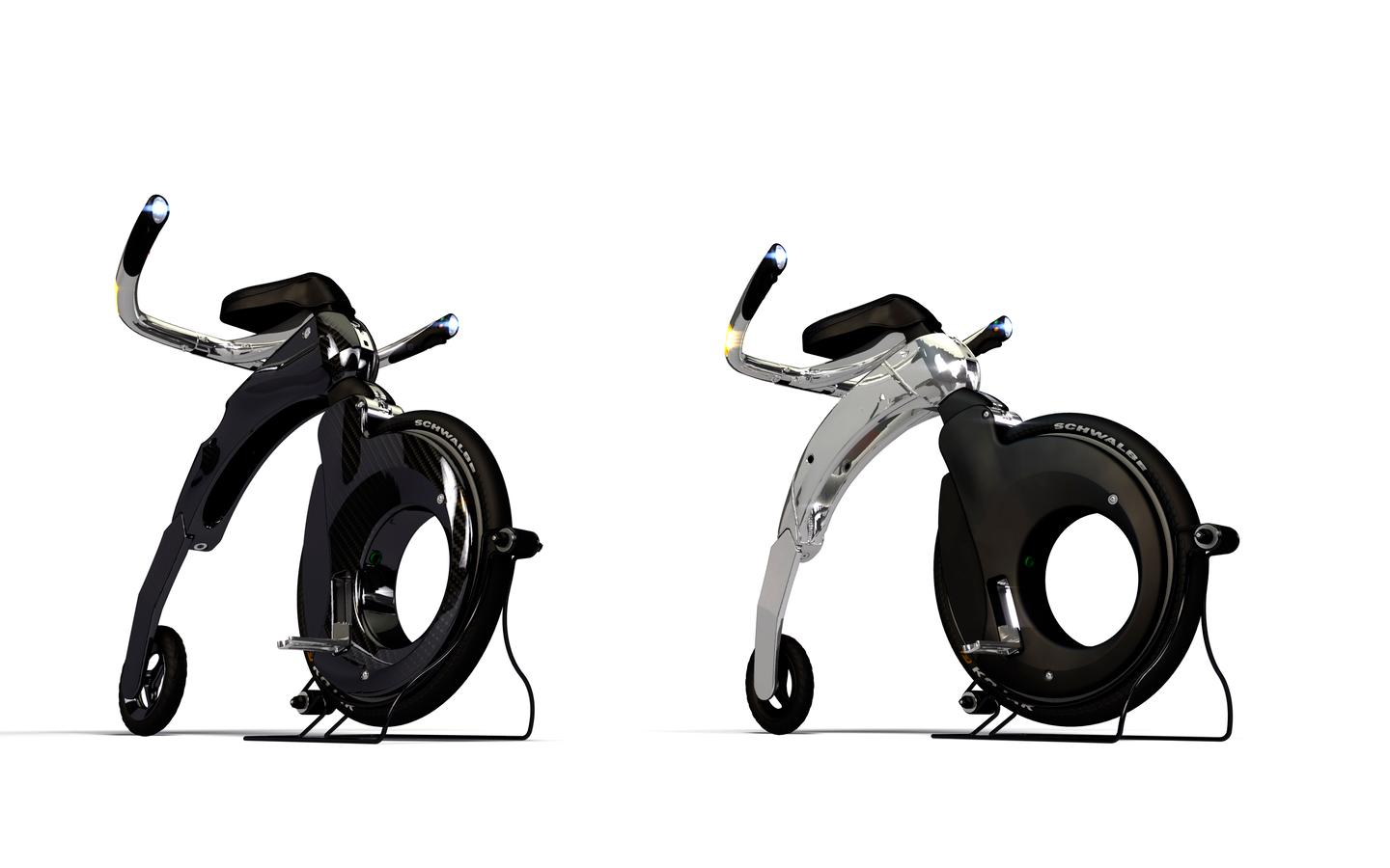 The Yikebike is a miniature, electric penny farthing made of carbon fiber capable of 25km/h (15 mph) with a range of 10 km or 20 km if you carry a spare battery