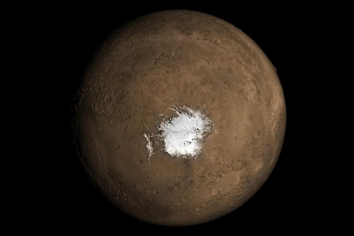 A visualization of the south pole of Mars, where a huge lake of liquid water is believed to have been found last year