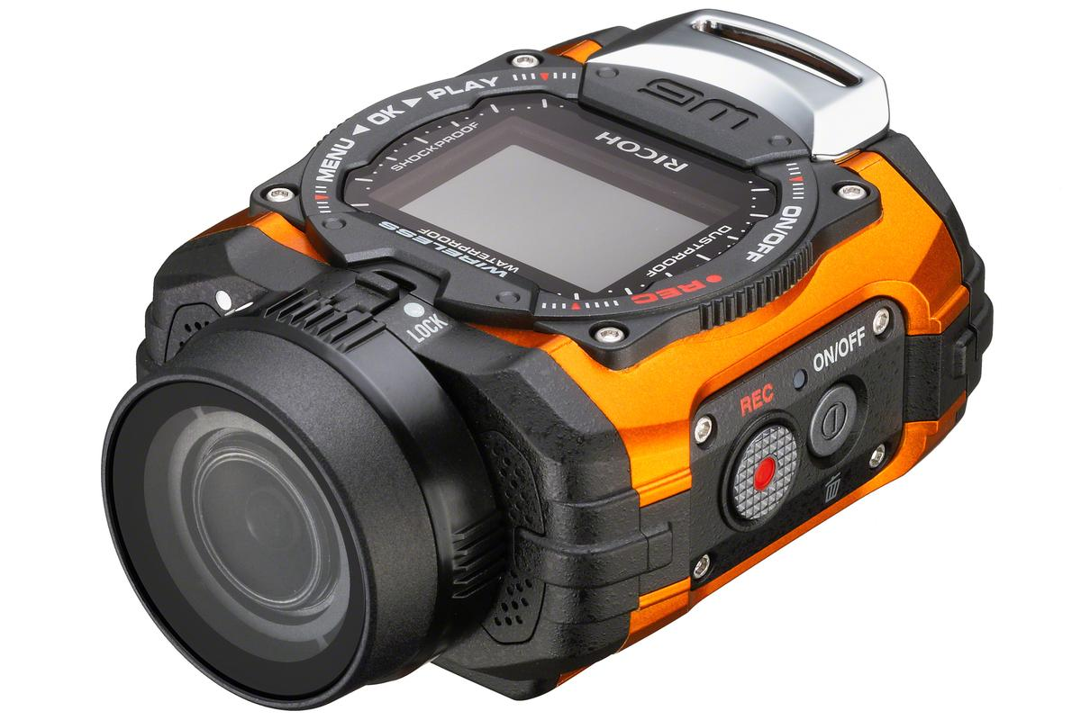 The Ricoh WG-M1 is a waterproof, shock-resistant, and cold-resistant actioncam