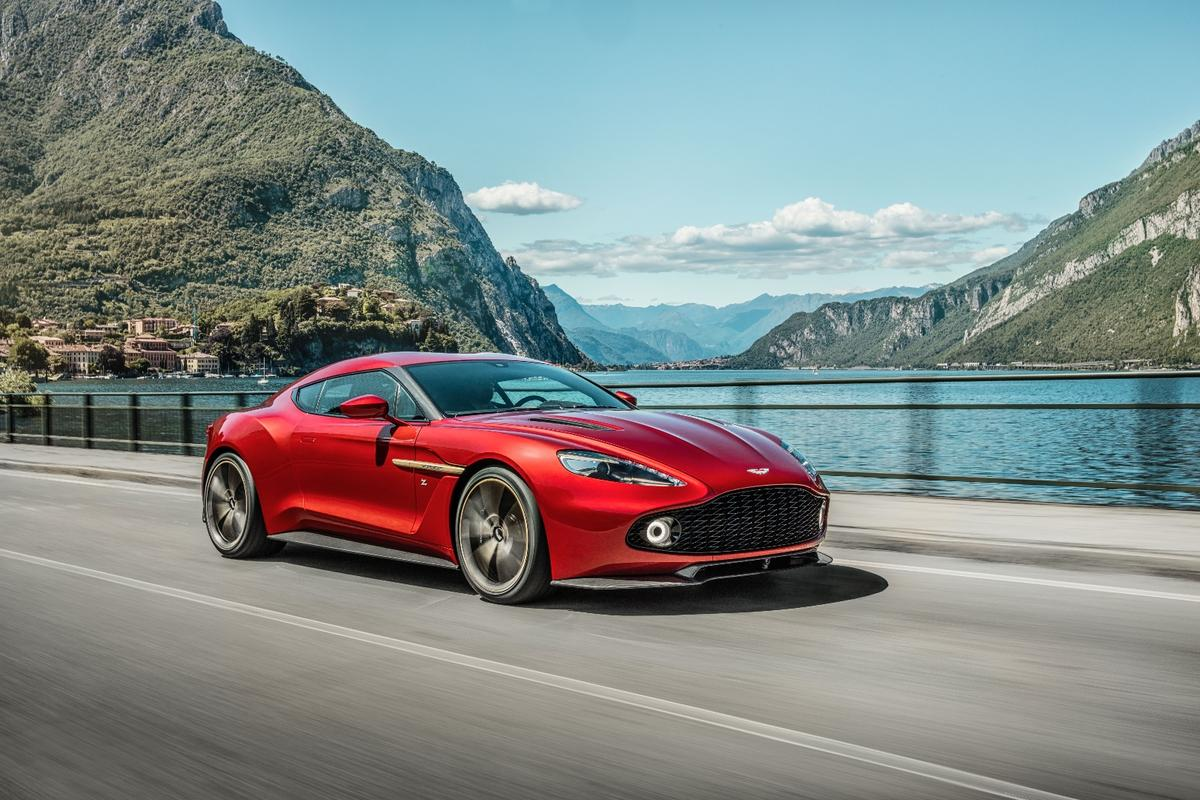 The production Vanquish Zagato features a gaping grille that feeds a 6.0-liter V12