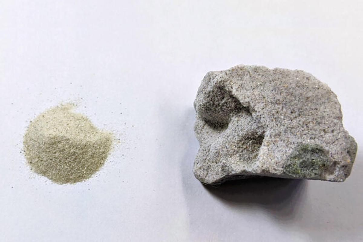A sample of the new cement-free concrete, made by bonding sand directly through alcohol and a catalyst