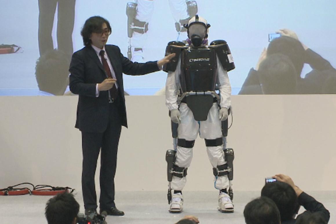 Professor Yoshiyuki Sankai presents the modified HAL exoskeleton during Japan Robot Week 2012