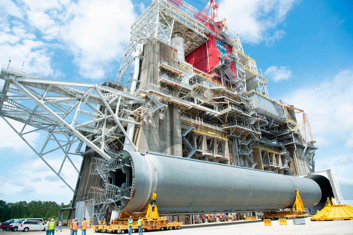 The core stage being moved into position on the B-2 test stand
