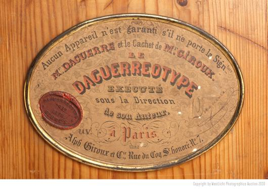 The label of the Daguerreotype from 1839 signed by the inventor Louis Jacques Mandé Daguerre