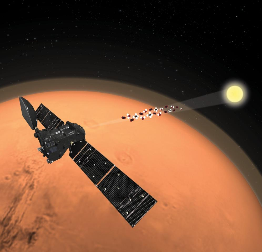An illustration of the ExoMars Trace Gas Orbiter analyzing the atmosphere of Mars