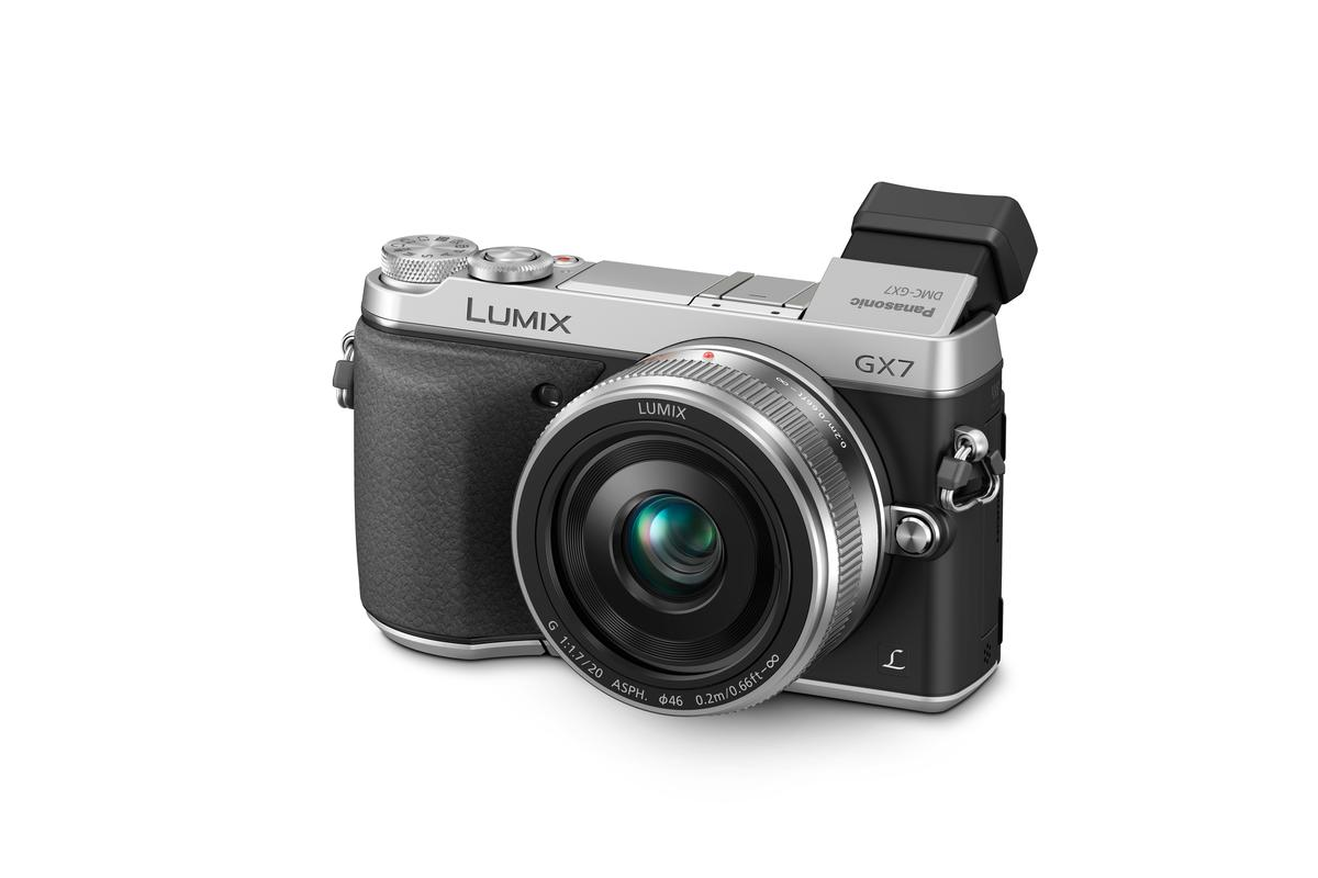 The GX7 has a tilting Live Viewfinder with 90 degrees of adjustment
