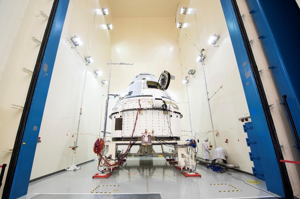 Boeing's Starliner prepares for acoustic testing at Boeing's spacecraft test facilities in El Segundo, California.