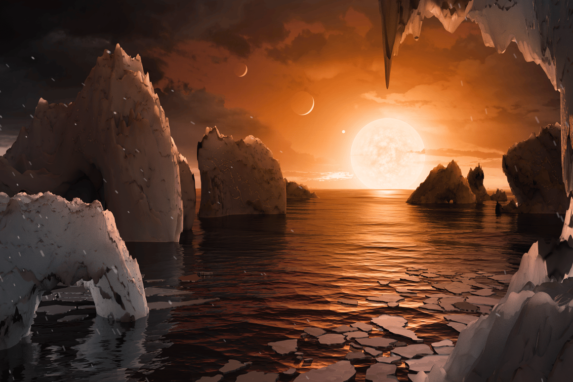 An artistic render of a temperate TRAPPIST-1 f, which could also be frozen or stifling under different climate models