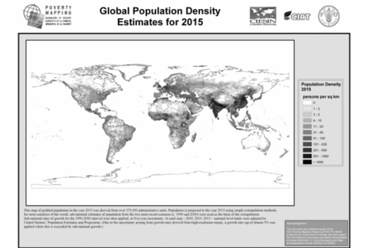 World population density 2015 - from the Global-Rural Mapping Project
