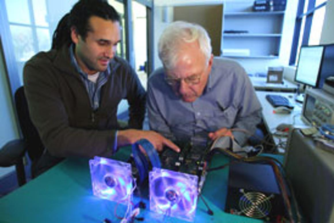 Charles Thacker and John Davis collaborate on the BEE3 computer-architecture hardware platform in March, 2010