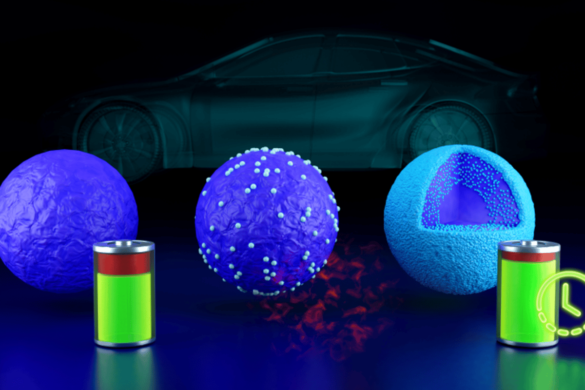 Diagram depicting how a coating made up of lithium-free niobium oxide (seen in green) can boost the long-term capacity of lithium batteries, which could have benefits for electric vehicles