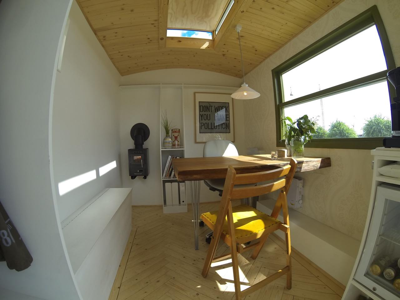 Mobile Tiny Office part-built using reclaimed materials