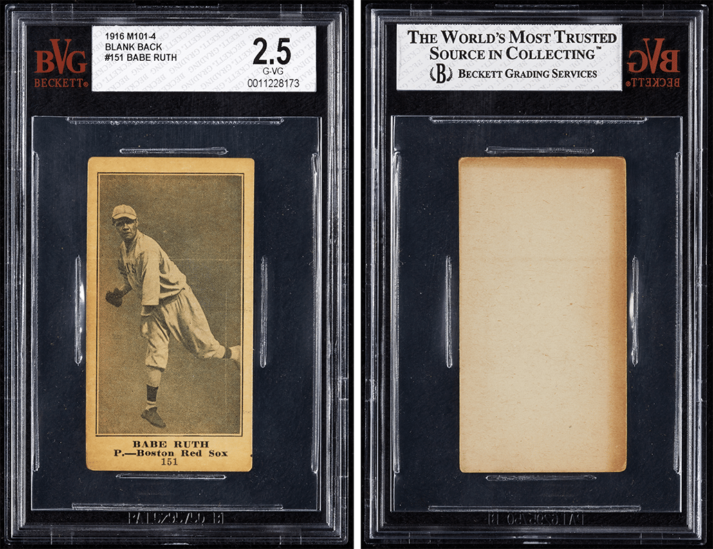 Front and back of the 1916 (M101-4) Babe Ruth blank back card
