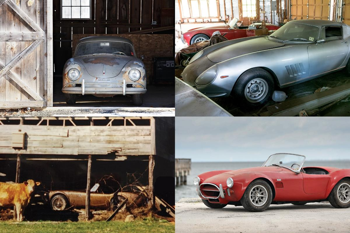 From top left clockwise:1957 Porsche 356 A 1500 GS Carrera Coupe, 1966 Ferrari 275 GTB Long Nose Alloy,1967Shelby427Cobra,1963 Shelby 289Cobra