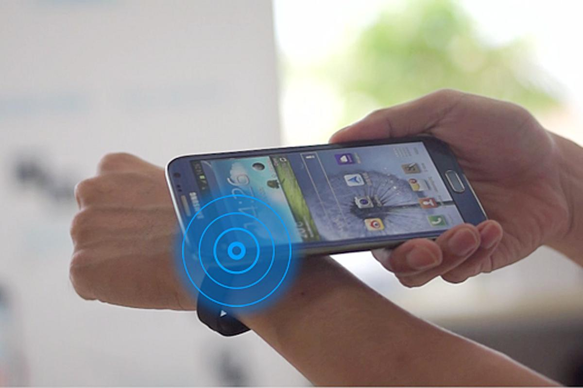 The Haloband uses NFC technology and a companion app to allow users can control their smartphones by tapping them with different points on the band