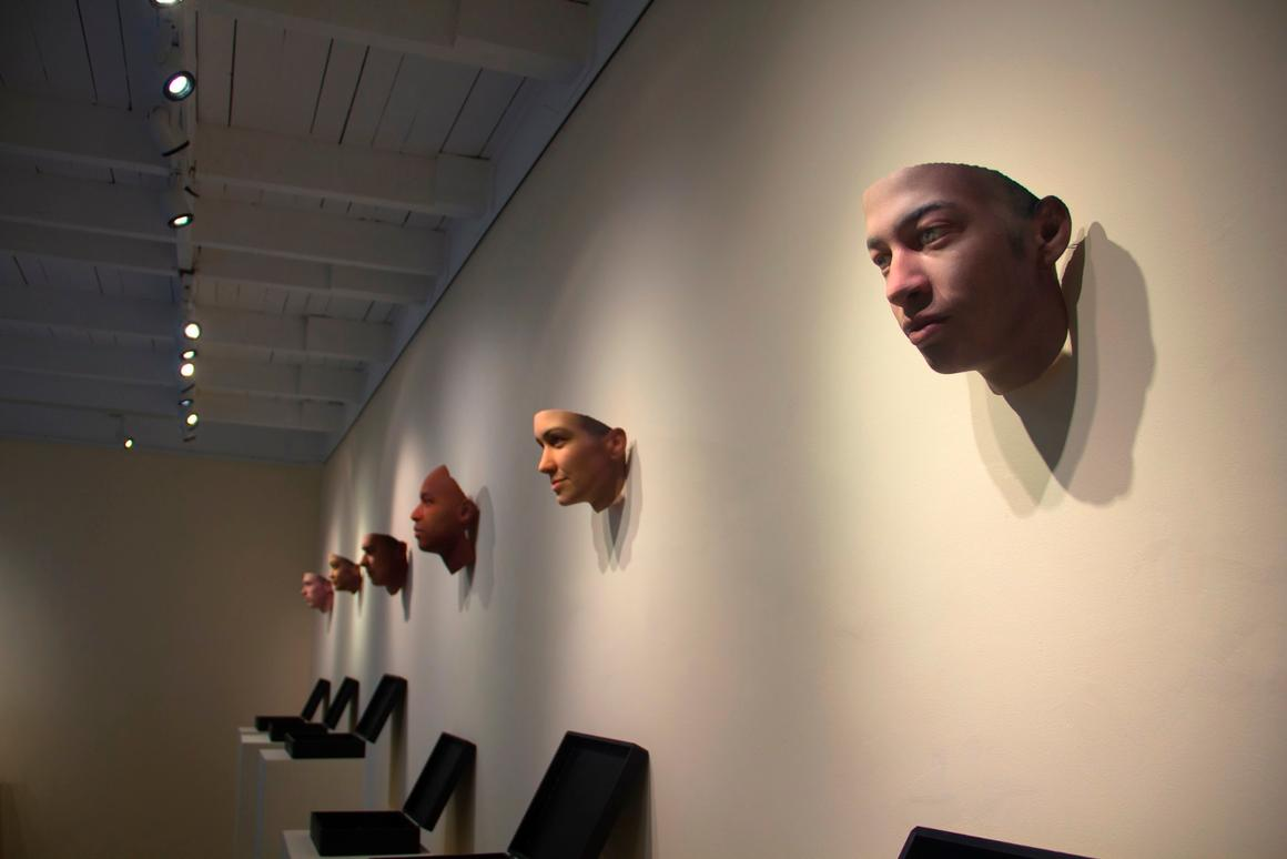 BioArt is a field that sits perfectly at the intersection of art and bioscience – the above piece displays 3D-printed faces reconstructed from anonymous DNA samples found on a city street