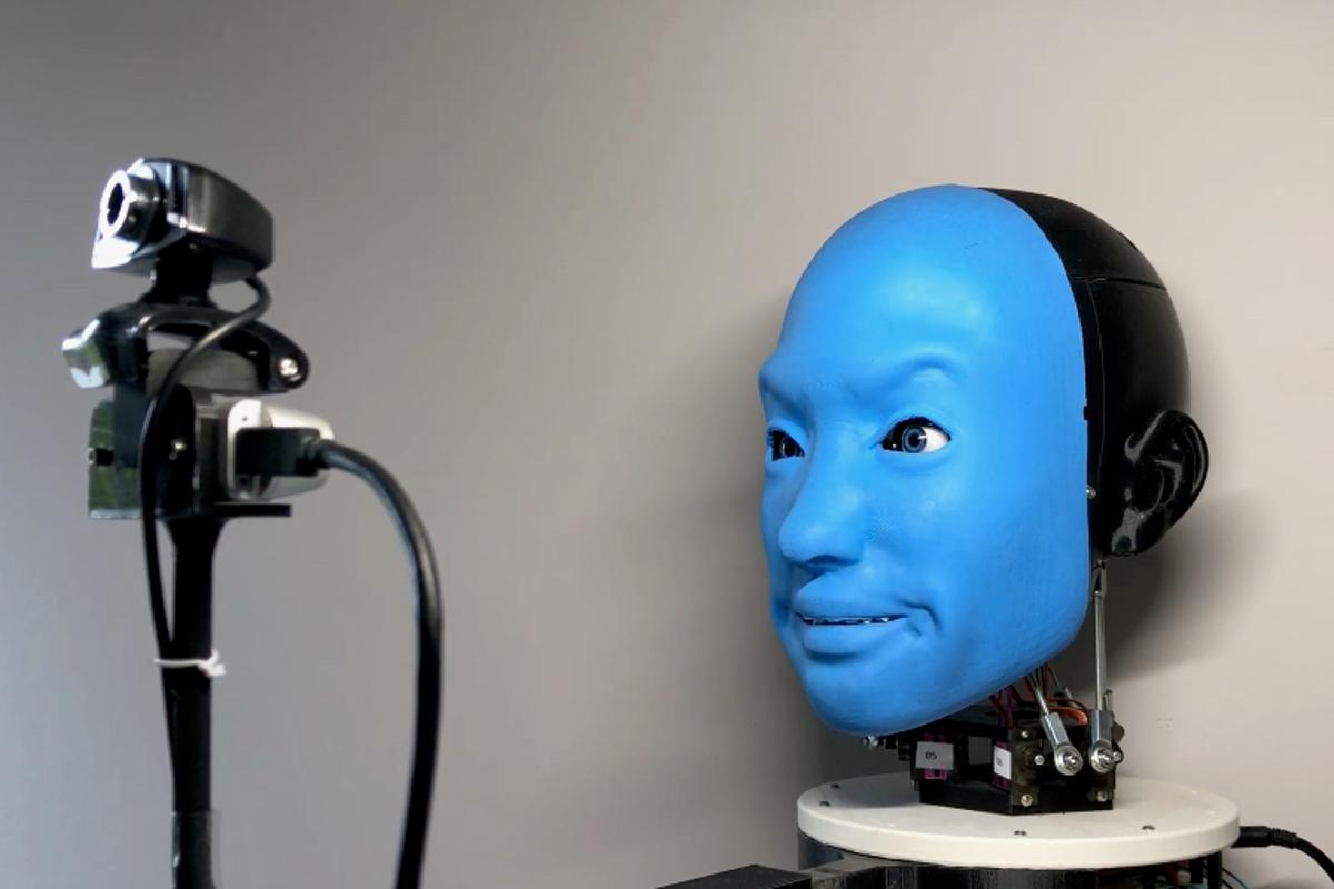 As part of its learning process, EVA runs through a variety of facial movements while filmed by a camera