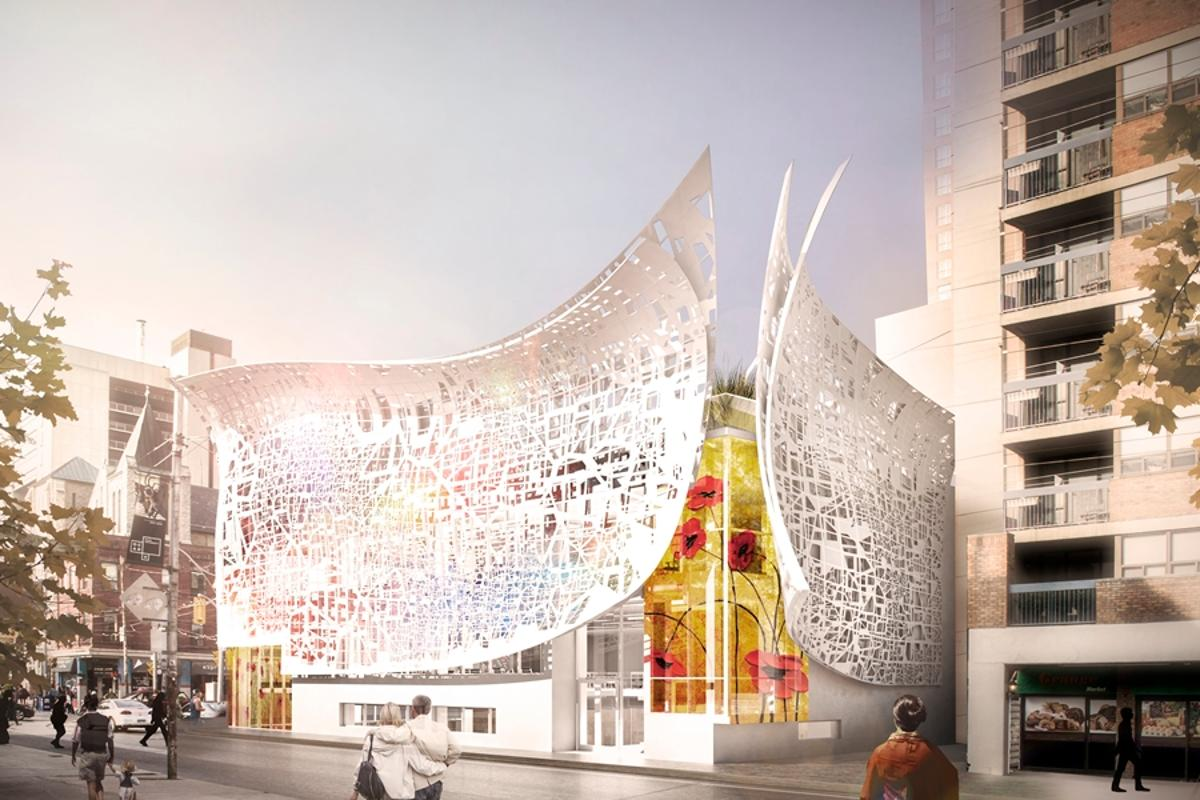 The façade is based on the locations of educational art facilities in Toronto