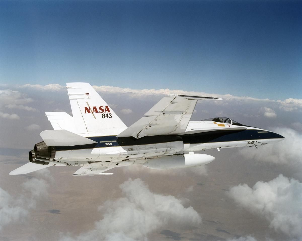 NASA F/A-18 mission support aircraft were used to create low-intensity sonic booms (Image: NASA/Jim Ross)