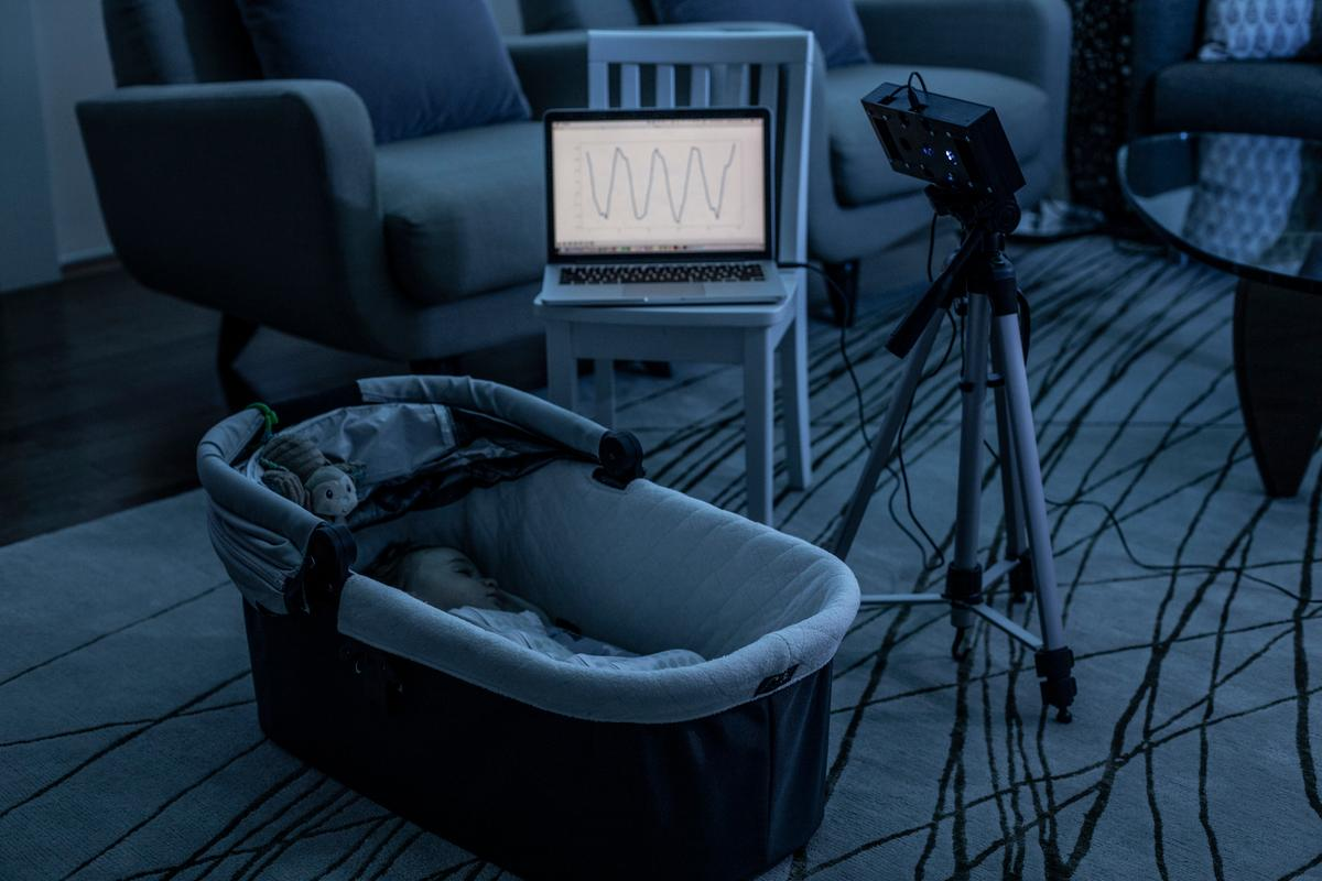 Researchers have developed a new smart speaker skill that lets a device use white noise to both soothe sleeping babies and monitor their breathing and movement. Credit: Dennis Wise/University of Washington