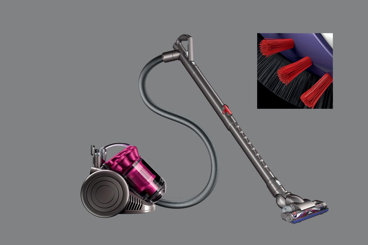 Dyson D26 vacuum uses the anti-static qualities of carbon fibres on the brushbar
