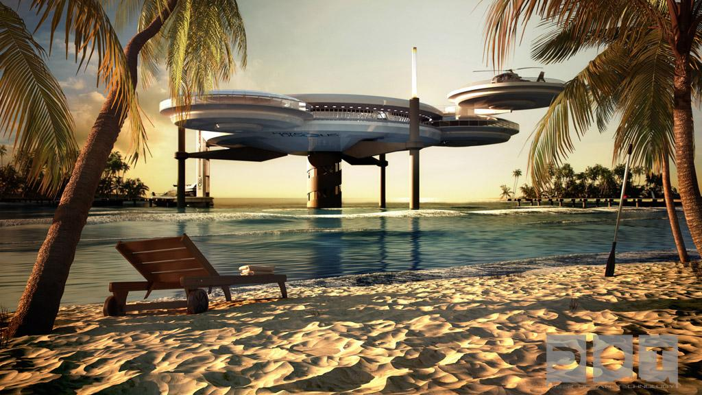 Artist's rendering of the futuristic Water Discus underwater hotel planned for construction in Dubai