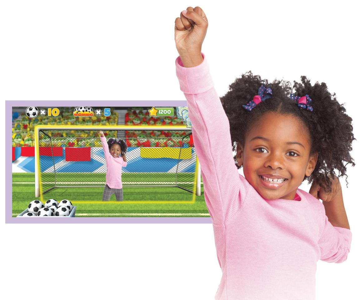 In Body Motion mode, the motion-sensing camera of the LeapFrog LeapTV incorporates a child's movement into the game as they dance, jump and kick